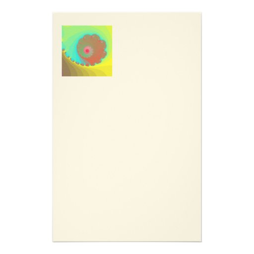 Pastel Watercolor Spiral Fractal Stationery Paper