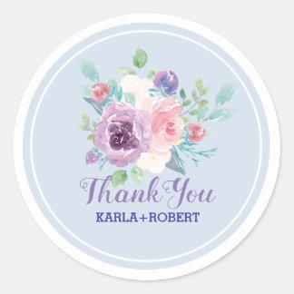 Pastel Watercolors Flowers Bouquet Classic Round Sticker