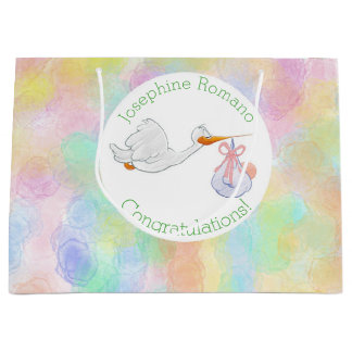 Pastel Watercolors Stork with Bundle Baby Shower Large Gift Bag