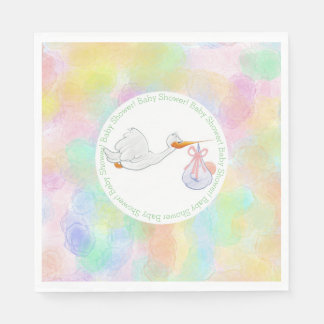 Pastel Watercolors Stork with Bundle Baby Shower Paper Napkin