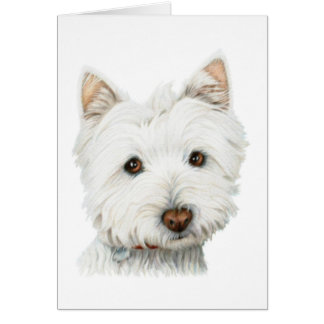 Pastel Westie Dog Greeting Card