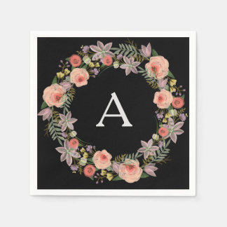 Pastel Wreath Black Monogram Napkins Paper Napkin