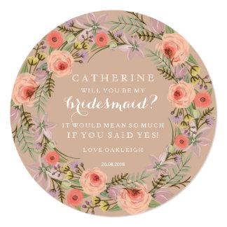 Pastel Wreath Will You Be My Bridesmaid 13 Cm X 13 Cm Square Invitation Card