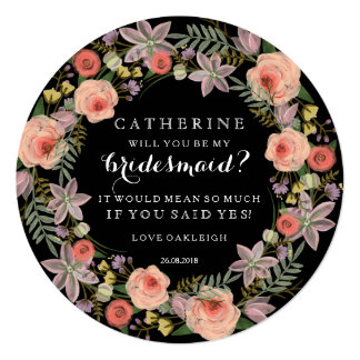 Pastel Wreath Will You Be My Bridesmaid | Black 13 Cm X 13 Cm Square Invitation Card