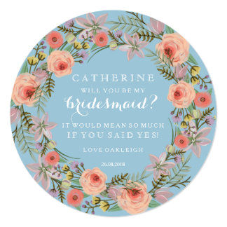 Pastel Wreath Will You Be My Bridesmaid | Blue 13 Cm X 13 Cm Square Invitation Card