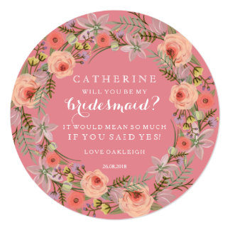 Pastel Wreath Will You Be My Bridesmaid | Pink 13 Cm X 13 Cm Square Invitation Card
