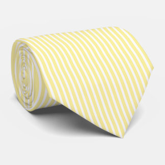 Pastel Yellow and White Minimal Striped Pattern Tie