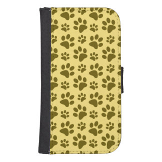 Pastel yellow dog paw print pattern samsung s4 wallet case
