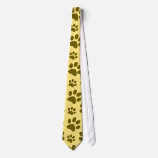 Pastel yellow dog paw print pattern tie