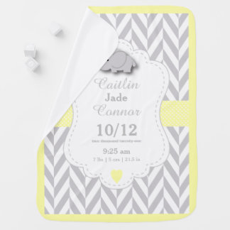 Pastel Yellow Elephant Birth Keepsake Design Baby Blanket