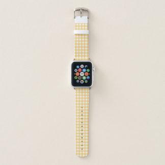 Pastel Yellow Gingham Check Pattern Apple Watch Band