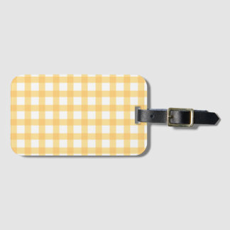 Pastel Yellow Gingham Check Pattern Luggage Tag