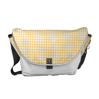 Pastel Yellow Gingham Check Pattern Messenger Bag