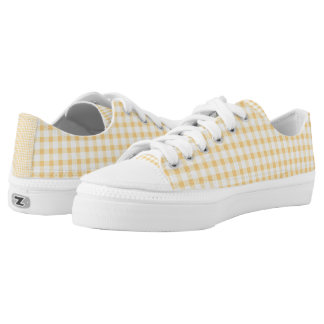 Pastel Yellow Gingham Check Pattern Printed Shoes