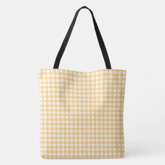 Pastel Yellow Gingham Check Pattern Tote Bag