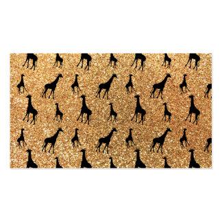 Pastel yellow giraffe glitter pattern business card template