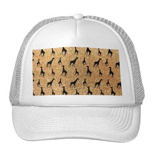 Pastel yellow giraffe glitter pattern mesh hat