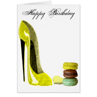 Pastel Yellow Stiletto and French Macaroons Art Greeting Card
