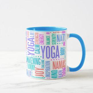 Pastel Yoga Word Cloud Elegant Pattern Mug
