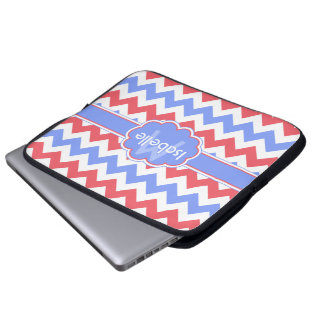 Pastel Zigzag Monogrammed Laptop Sleeve