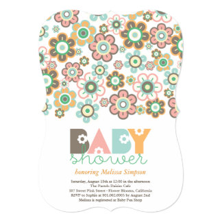 """Pastels Daisies Flowers Blooms Baby Shower Invite 5"""" X 7"""" Invitation Card"""