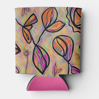 Pastels Floral Abstract Can Cooler