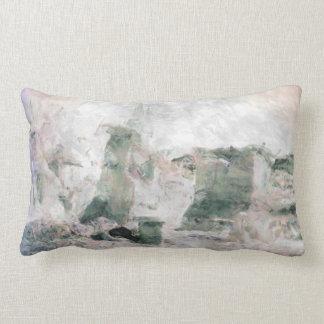 Pastels pink, sage, purple desert landscape lumbar pillow