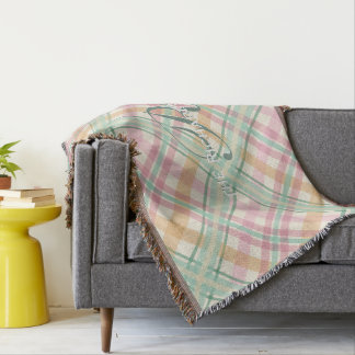 pastels plaid summertime pink mint throw blanket