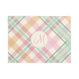 pastels plaid summertime pink mint with monogram doormat