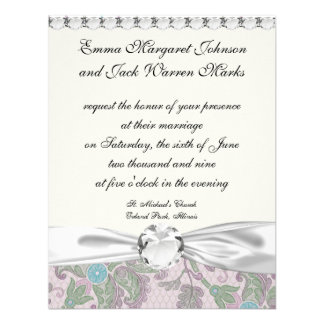 pastels spring floral damask personalized announcements