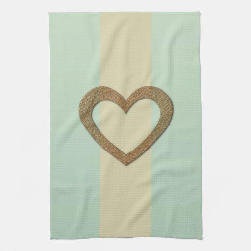 Pastels Stripes Heart Love Kitchen Towel