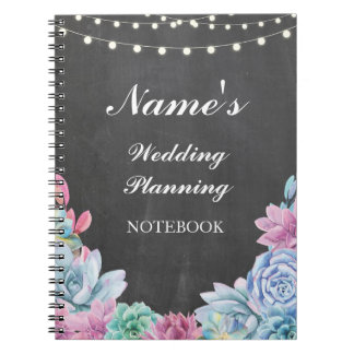 Pastels Succulents Notebook Wedding Planning Notes