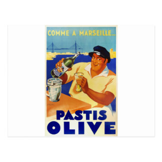 Pastis Olive - Comme a Marseille Postcard