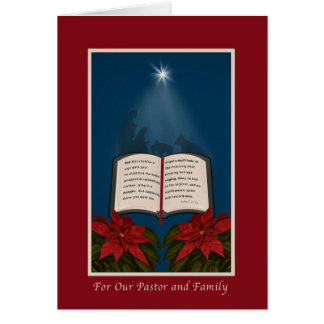 Pastor and Family, Open Bible Christmas Message Greeting Card