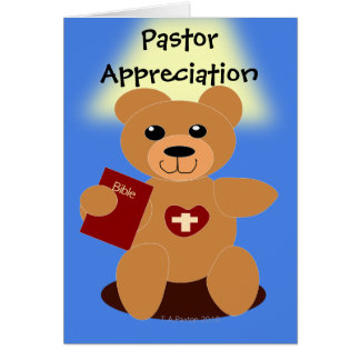 Pastor Appreciation Bible  Bear Card