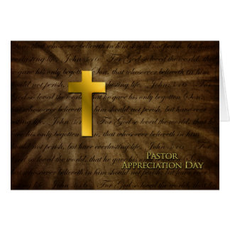 Pastor Appreciation Day - Christian Gold Cross - Greeting Card