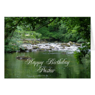 Pastor birthday card showing a river