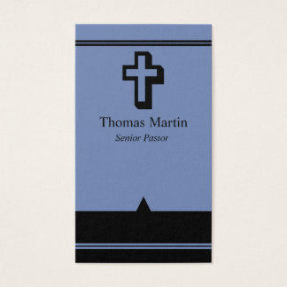 Pastor Business Cards with Cross Blue Black