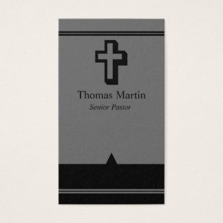Pastor Business Cards with Cross Gray Black