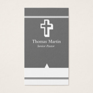 Pastor Business Cards with Cross Gray White