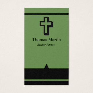Pastor Business Cards with Cross Green Black