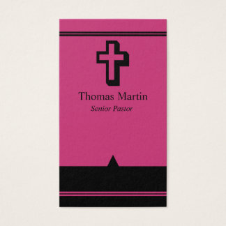 Pastor Business Cards with Cross Hot Pink Black