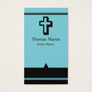 Pastor Business Cards with Cross Light Blue Black
