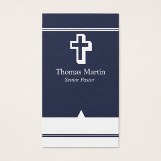 Pastor Business Cards with Cross Navy Blue White