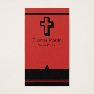 Pastor Business Cards with Cross Red Black