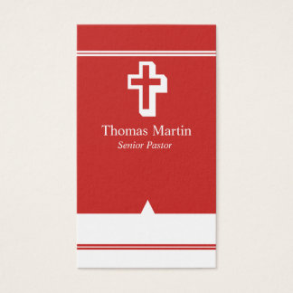 Pastor Business Cards with Cross Red White