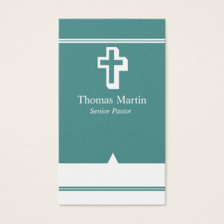 Pastor Business Cards with Cross Teal White