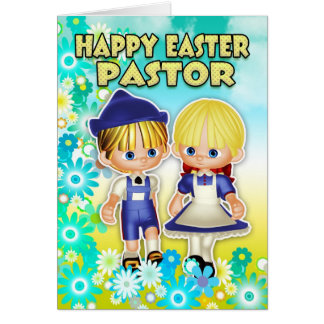 Pastor Easter Card - Children And Flowers