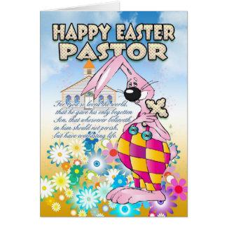 Pastor Easter Card - Easter Bunny Flowers