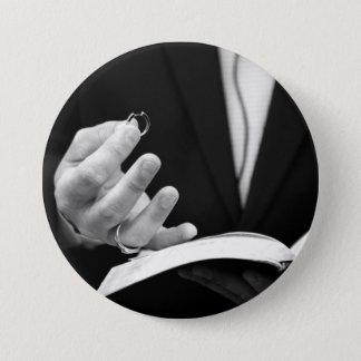 Pastor Holding Ring 7.5 Cm Round Badge